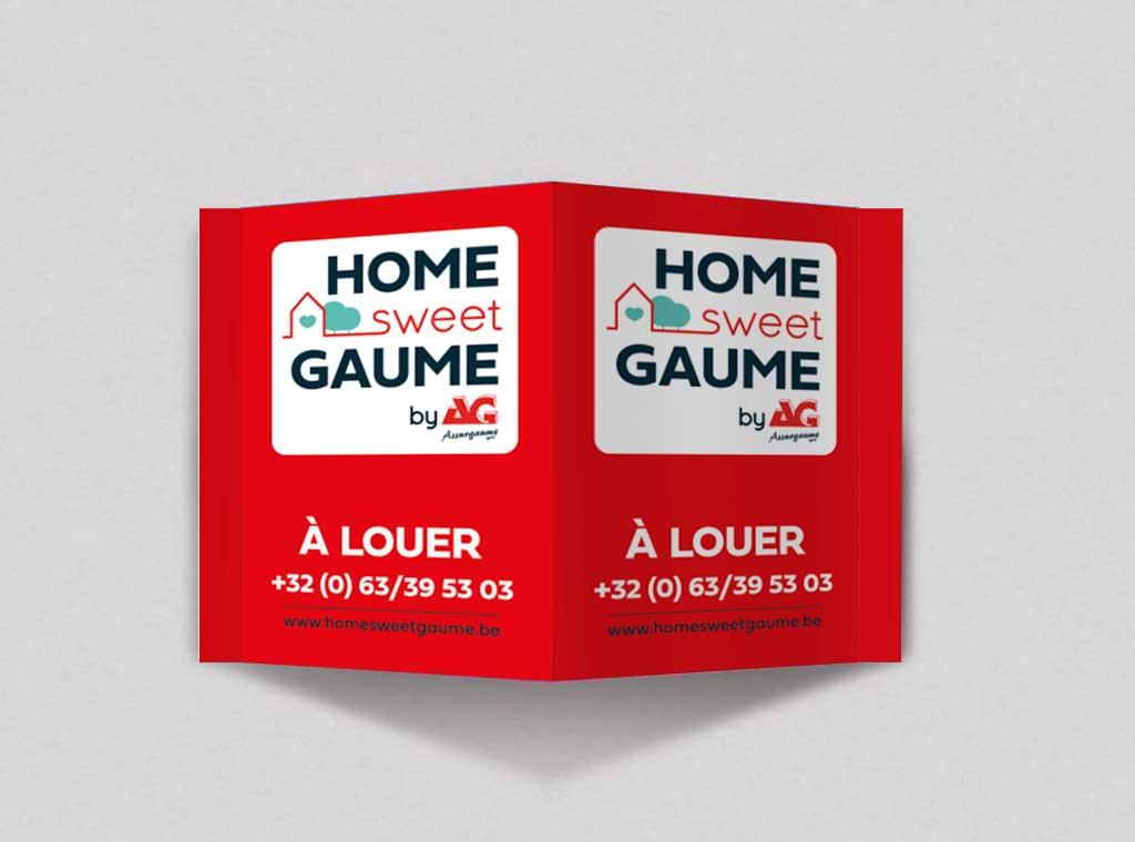 Impression panneau immo Home sweet Gaume